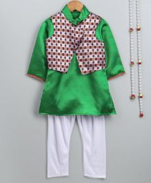 Little Palz Full Sleeves Soild Kurta & Pajama With Dot Embroidered Jacket - Green