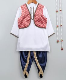 Little Palz Full Sleeves Soild Kurta With Attached Jacket & Dhoti - White & Navy Blue