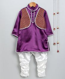 Little Palz Full Sleeves Kurta With Attached Motif Printed Jacket & Pajama - Purple