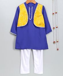 Little Palz Full Sleeves Kurta With Attached Flower Design Jacket & Pajama - Royal Blue