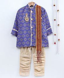 Little Palz Motif Printed Full Sleeves Sherwani With Pajama & Dupatta - Blue