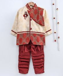 Little Palz Motif Embroidered Full Sleeves Sherwani & Pajama Set - Beige & Maroon
