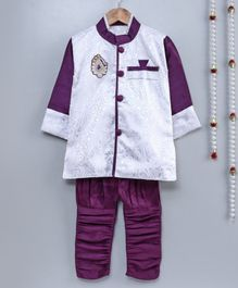 Little Palz Self Design Full Sleeves Motif Patch Detailed Sherwani With Pajama - White & Purple