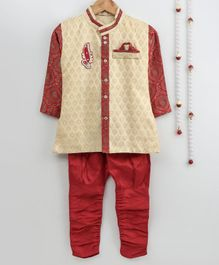 Little Palz Self Design Full Sleeves Motif Patch Detailed Sherwani With Pajama - Beige & Red