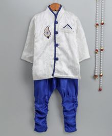 Little Palz Self Design Full Sleeves Motif Patch Detailed Sherwani With Pajama - White & Blue