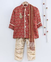 Little Palz Self Design Full Sleeves Motif Patch Detailed Sherwani With Pajama & Dupatta - Beige & Red