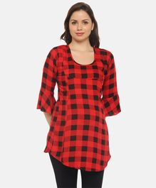 Goldstroms Ruffled Three Fourth Sleeves Checkered Maternity Top - Red