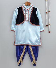 Little Palz Lace Detailed Full Sleeves Kurta With Attached Jacket & Dhoti - Light Blue