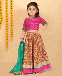 LIL PITAARA Zig Zag Lace Detailed Half Sleeves Choli With Floral Print Lehenga With Dupatta - Pink & Green