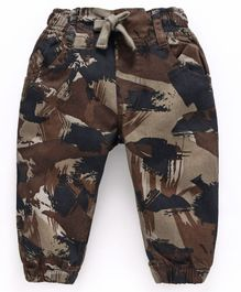 Cucumber  Cotton Poplin  Full Length  Camouflage Trousers With Drawstring  - Brown