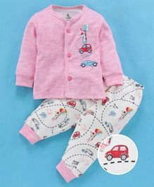 Cucumber Full Sleeves Night Suit Car Print - Pink