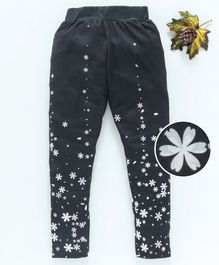 Birthday Girl Ankle Length Leggings Floral Print - Black