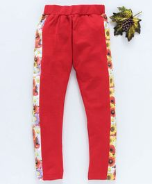 Birthday Girl Ankle Length Leggings Floral Print - Red
