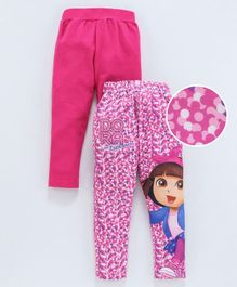 Birthday Girl Full Length Leggings Dora Print Pack of 2 - Fuchsia