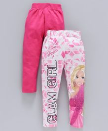Birthday Girl Full Length Leggings Glam Girl Print Pack of 2 -  Fuchsia White