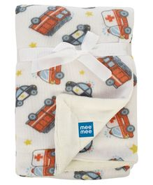 Mee Mee 100% Cotton Soft Double Layer Reversible Baby Blanket Vehicle Print - Red White