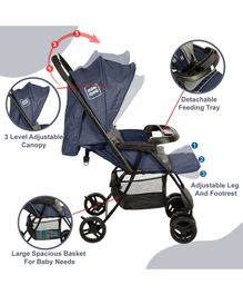 Mee Mee Easy to Push Baby Pram with Quick One-Hand Folding - Navy