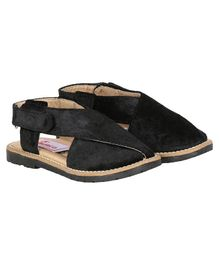 Buckled Up Velvet Velcro Closure Sandals - Black