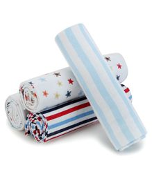 Kassy Pop Cotton Flannel Receiving Swaddles Cum Baby Blanket  - Pack of 4
