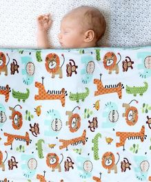 Kassy Pop Organic Microfiber Fleece Blanket Cute Animals Print - Multicolor