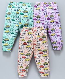 Cucumber Full Length Lounge Pants Car Print Pack of 2 - Purple Green Peach