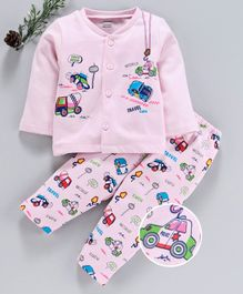 Cucumber Full Sleeves Winter Wear Night Suit Vehicle Print - Pink