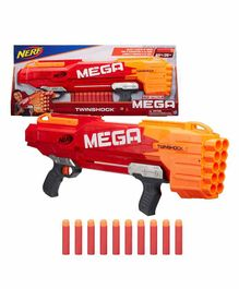 Nerf Mega Twin Shock Dart Gun With Darts - Red