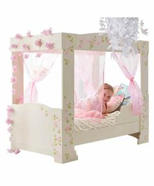 Worlds Apart Kid's Four Poster Bed Floral Print - Grey