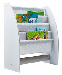 Worlds Apart 4 Compartment Kid's Bookshelf Star Print - Grey