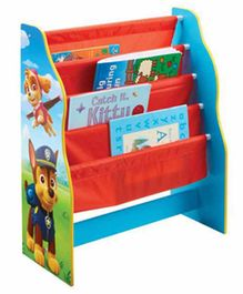 Worlds Apart 4 Compartment Kid's Bookshelf Paw Patrol Print - Red Blue