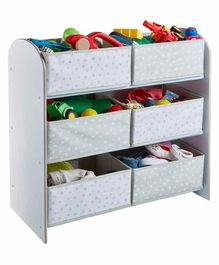 Worlds Apart 6 Compartment Storage Unit Star Print - Grey