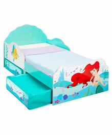 Worlds Apart Kid's Bed with Storage Drawers Ariel Print - Blue