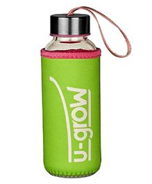 U-Grow Glass Bottle with Thermally Insulated Green Cover - 308 ml