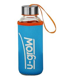 U-Grow Glass Bottle with Thermally Insulated Blue Cover - 308 ml