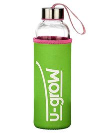 U-Grow Glass Bottle with Thermally Insulated Green Cover - 520 ml