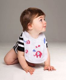 Polka Tots 100% Organic Muslin Cotton Elephant Design Bibs With Three Layers - White