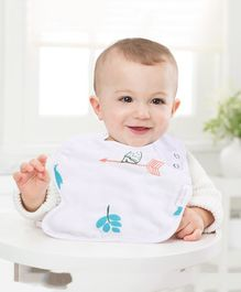 Polka Tots 100% Organic Muslin Cotton Bird Design Bibs With Three Layers - White