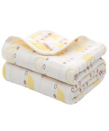 Syga Pure Soft Cotton Blanket Crown Print - Yellow