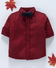 Gini & Jony Full Sleeves Shirt With Bow - Red