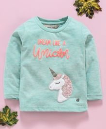 Gini & Jony Party Wear Full Sleeves Tee Unicorn Embroidery - Sea Green