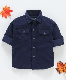 Gini & Jony Full Sleeves Solid Shirts  - Navy Blue
