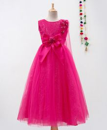 Betty By Tiny Kingdom Flower Applique Sleeveless Gown - Pink