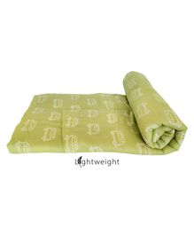 Rio Pure Soft Cotton Handmade Quilt Comforter Blanket Car Print - Olive Green