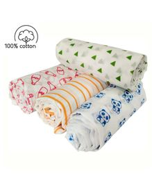 Rio Newborn Pure Cotton Swaddle Wraps Teddy Bottle Print - Pack of 4