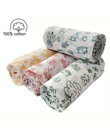 Rio Newborn Pure Cotton Swaddle Wraps Creatures Print - Pack of 4
