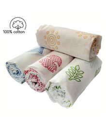 Rio Newborn Pure Cotton Swaddle Wraps Mushroom Leaf Print - Pack of 4