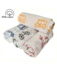 Rio Newborn Pure Cotton Swaddle Wraps Vehicle Print - Pack of 4
