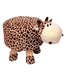 Vibgyor Vibes Wooden Stool With Giraffe Shape Cover - Brown