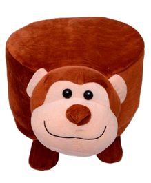 Vibgyor Vibes Wooden Stool With Monkey Shape Cover - Brown