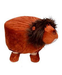 Vibgyor Vibes Wooden Stool With Lion Shape Cover - Brown